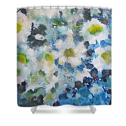 Shower Curtain featuring the painting Cluster Of Daisies by Richard James Digance