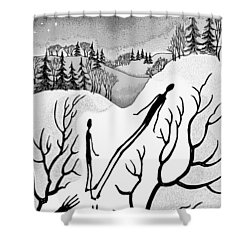 Shower Curtain featuring the digital art Clutching Shadows by Carol Jacobs