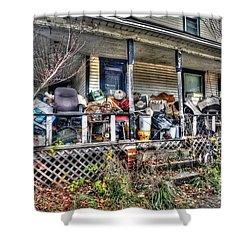 Clutter House Porch  Shower Curtain by Dan Friend