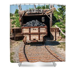 Shower Curtain featuring the photograph Coal Cart Leaving The Mine by Sue Smith