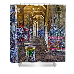 Coal Piers Shower Curtain by Alice Gipson