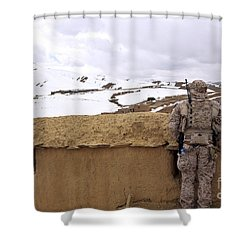 Coalition Forces Visit The Hazaran Shower Curtain by Stocktrek Images