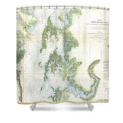 Coast Survey Chart Or Map Of The Chesapeake Bay Shower Curtain by Paul Fearn