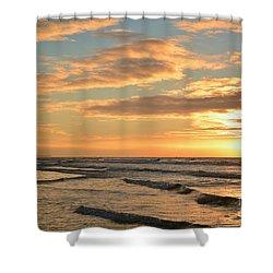 Shower Curtain featuring the photograph Coastal Autumn Sunrise by Kelly Nowak