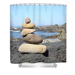 Coastal Beach Rock Stacking Art Prints Shower Curtain by Baslee Troutman