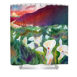 Coastal Callas Shower Curtain by C Sitton