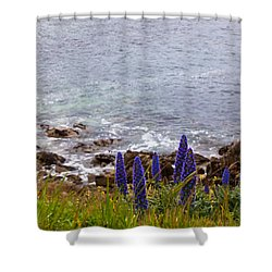 Coastal Cliff Flowers Shower Curtain by Melinda Ledsome