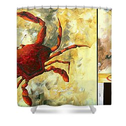 Coastal Crab Decorative Painting Original Art Coastal Luxe Crab By Madart Shower Curtain by Megan Duncanson