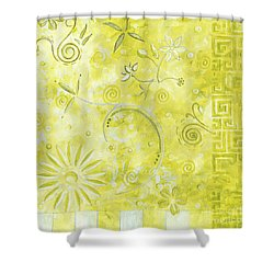 Coastal Decorative Citron Green Floral Greek Checkers Pattern Art Green Whimsy By Madart Shower Curtain by Megan Duncanson