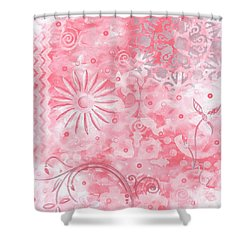 Coastal Decorative Pink Peach Floral Chevron Pattern Art Pink Whimsy By Madart Shower Curtain by Megan Duncanson
