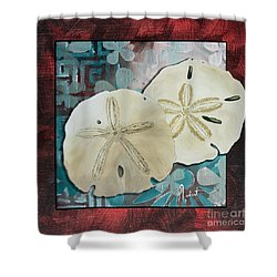 Coastal Decorative Shell Art Original Painting Sand Dollars Asian Influence I By Megan Duncanson Shower Curtain by Megan Duncanson