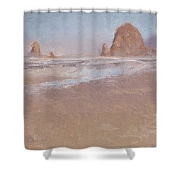 Coastal Escape  Cannon Beach Oregon And Haystack Rock  Shower Curtain