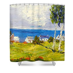Shower Curtain featuring the painting Coastal Fishing Village by Pamela  Meredith