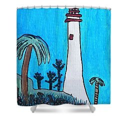 Shower Curtain featuring the painting Coastal Lighthouse by Artists With Autism Inc