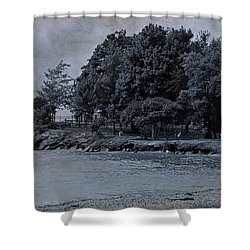 Coastal Living On Lake Erie Shower Curtain by Dan Sproul