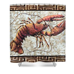 Coastal Lobster Decorative Painting Greek Border Design By Madart Studios Shower Curtain by Megan Duncanson