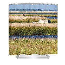 Coastal Marshlands With Old Fishing Boat Shower Curtain by Bill Swindaman