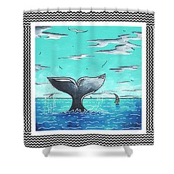 Coastal Nautical Decorative Art Original Painting Whale Tail Chevron Pattern Sea Farer By Madart Shower Curtain by Megan Duncanson