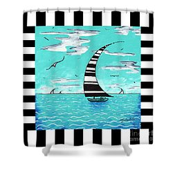 Coastal Nautical Decorative Art Original Painting With Stripes Refreshing By Madart Shower Curtain by Megan Duncanson