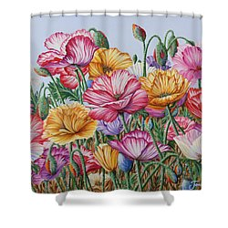 Shower Curtain featuring the painting Coastal Poppies by Jane Girardot