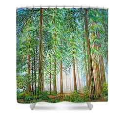 Shower Curtain featuring the painting Coastal Redwoods by Jane Girardot