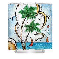Coastal Tropical Art Contemporary Sailboat Kite Painting Whimsical Design Summer Daze By Madart Shower Curtain by Megan Duncanson