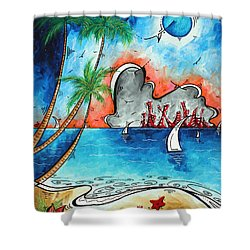 Coastal Tropical Beach Art Contemporary Painting Whimsical Design Tropical Vacation By Madart Shower Curtain by Megan Duncanson