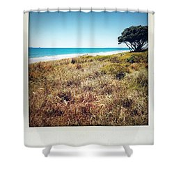 Coastline Shower Curtain by Les Cunliffe