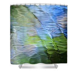 Coastline Mosaic Abstract Art Shower Curtain by Christina Rollo