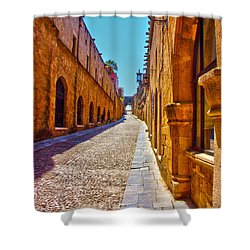 Rhodes Cobbled Street Shower Curtain