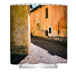 Shower Curtain featuring the photograph Cobbled Street by Silvia Ganora