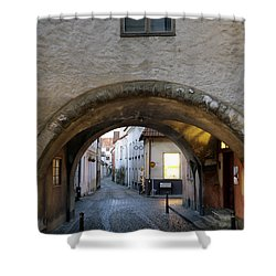 Cobblestone And Arcade Shower Curtain by Ladi  Kirn