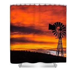 Cobblestone Windmill At Sunset Shower Curtain