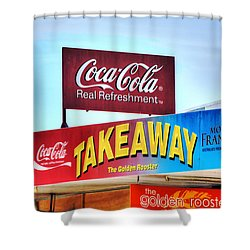 Coca-cola - Old Shop Signage Shower Curtain by Kaye Menner