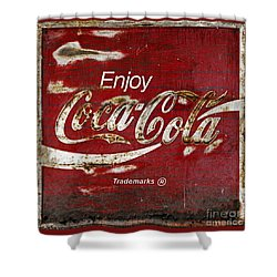 Coca Cola Red Grunge Sign Shower Curtain by John Stephens
