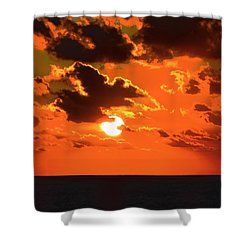 Shower Curtain featuring the photograph Coco Cay Sunset by Jennifer Wheatley Wolf