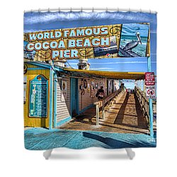 Cocoa Beach Pier In Florida Shower Curtain by David Smith