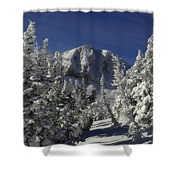 Cody Peak After A Snow Shower Curtain by Raymond Salani III
