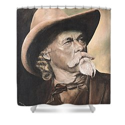Shower Curtain featuring the painting Cody - Western Gentleman by Mary Ellen Anderson