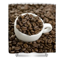 Shower Curtain featuring the photograph Coffe Beans And Coffee Cup by Lee Avison
