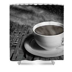Coffe Cup And Saucer With Alphabet Lettering Shower Curtain by Randall Nyhof
