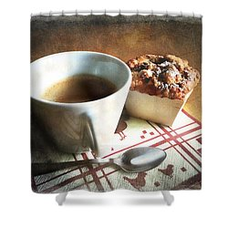Coffee And Muffin Shower Curtain by Barbara Orenya