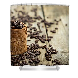 Coffee Beans Shower Curtain by Aged Pixel