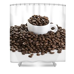Shower Curtain featuring the photograph Coffee Beans And Coffee Cup Isolated On White by Lee Avison