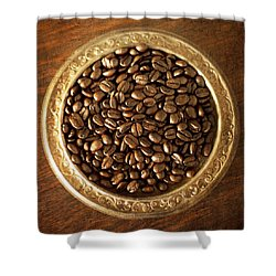 Coffee Beans On Antique Silver Platter Shower Curtain