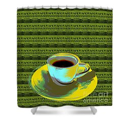 Coffee Cup Pop Art Shower Curtain