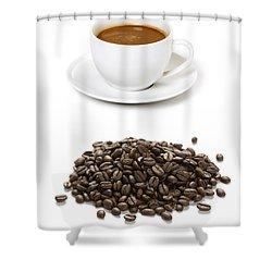 Shower Curtain featuring the photograph Coffee Cups And Coffee Beans by Lee Avison