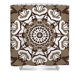 Coffee Flowers 10 Ornate Medallion Shower Curtain by Angelina Vick