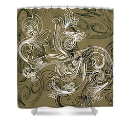 Coffee Flowers 2 Olive Shower Curtain
