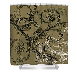 Coffee Flowers 3 Olive Shower Curtain